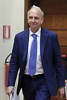 Roma, 5 Luglio 2018<br /> Il ministro dell'istruzione Marco Bussetti durante la Conferenza stampa sulle vaccinazioni obbligatorie presso il Ministero della Salute.