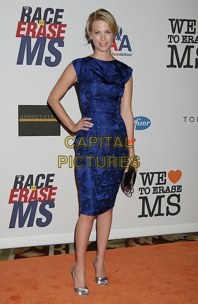 JANUARY JONES.15th Annual Race To Erase MS held at the Hyatt Regency Plaza Hotel, Century City, California, USA..May 2nd, 2008.full length blue purple dress hand on hip silver shoes clutch bag black .CAP/ADM/RE.©Russ Elliot/AdMedia/Capital Pictures.