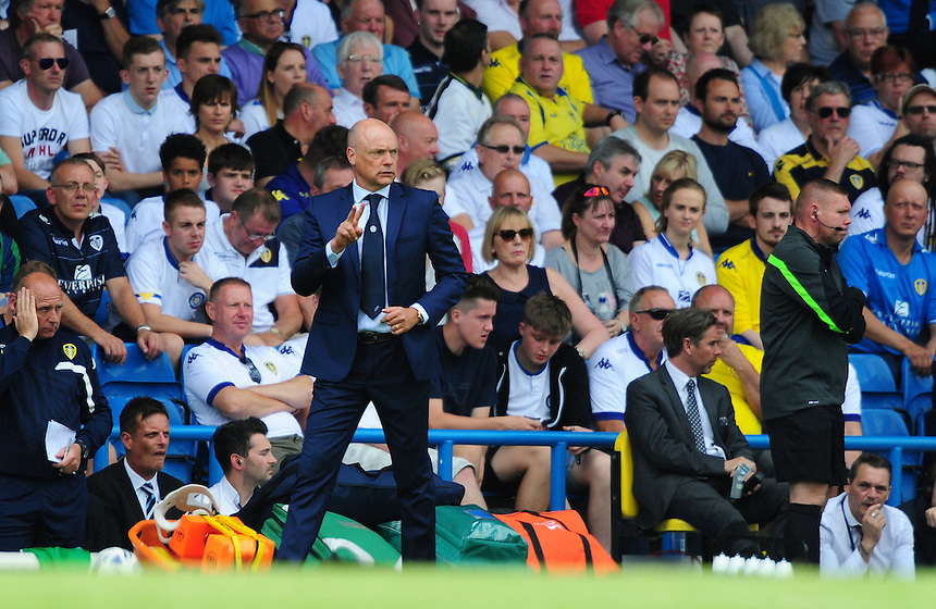 Leeds United manager Uwe Rosler shouts instructions to his team from the dug-out<br /> <br /> Photographer Chris Vaughan/CameraSport<br /> <br /> Football - The Football League Sky Bet Championship - Leeds United  v Burnley - Saturday 8th August 2015 - Elland Road - Beeston - Leeds<br /> <br /> &copy; CameraSport - 43 Linden Ave. Countesthorpe. Leicester. England. LE8 5PG - Tel: +44 (0) 116 277 4147 - admin@camerasport.com - www.camerasport.com
