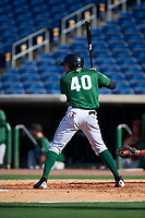 Daytona Tortugas center fielder Jonathan Reynoso (40) at bat during the first game of a doubleheader against the Clearwater Threshers on July 25, 2017 at Spectrum Field in Clearwater, Florida.  Daytona defeated Clearwater 4-1.  (Mike Janes/Four Seam Images)