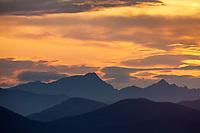 Sunset over the Brooks Range mountains, Arctic, Alaska.