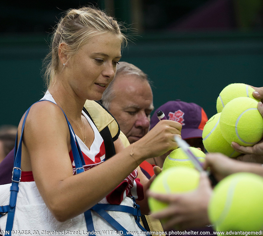 Maria Sharapova - Russia..Tennis - OLympic Games -Olympic Tennis -  London 2012 -  Wimbledon - AELTC - The All England Club - London - Friday 29th June  2012. .© AMN Images, 30, Cleveland Street, London, W1T 4JD.Tel - +44 20 7907 6387.mfrey@advantagemedianet.com.www.amnimages.photoshelter.com.www.advantagemedianet.com.www.tennishead.net
