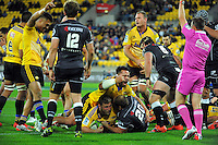 Reggie Goodes scores for the Hurricanes during the Super Rugby match between the Hurricanes and Sharks at Westpac Stadium, Wellington, New Zealand on Saturday, 9 May 2015. Photo: Dave Lintott / lintottphoto.co.nz