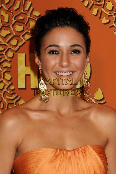 EMMANUELLE CHRIQUI.HBO's 2010 67th Golden Globe Awards Post Party held at the Beverly Hilton Hotel, Beverly Hills, California, USA. .January 17th, 2009 .globes headshot portrait orange strapless gold dangling earrings .CAP/ADM/BP.©Byron Purvis/Admedia/Capital Pictures
