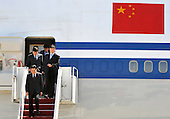 Chinese President Hu Jintao arrives for the Nuclear Security Summit, at Andrews Air Force Base, Maryland, April 12, 2010..Credit: Kevin Dietsch / Pool via CNP