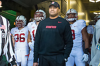 EUGENE, OR - NOVEMBER 1, 2014:  Head Coach David Shaw before Stanford's game against Oregon. The Ducks defeated the Cardinal 45-16.
