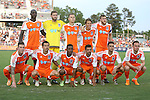 16 May 2015: Carolina's starters. Front row (left to right): Wes Knight, Kupono Low, Tiyi Shipalane (RSA), Nacho Novo (ESP), Nazmi Albadawi, Mark Anderson (ENG). Back row (left to right): Mamadou Futty Danso (GAM), Richard Hunter Gilstrap, Neil Hlavaty, Wells Thompson, Connor Tobin. The Carolina RailHawks hosted the New York Cosmos at WakeMed Stadium in Cary, North Carolina in a North American Soccer League 2015 Spring Season match. The game ended in a 2-2 tie.