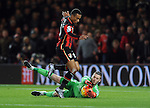 Junior Stanislas of Bournemouth is challenged by Manchester United goalkeeper David De Gea<br /> - Barclays Premier League - Bournemouth vs Manchester United - Vitality Stadium - Bournemouth - England - 12th December 2015 - Pic Robin Parker/Sportimage