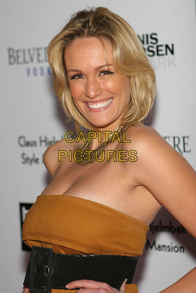 ASHLAN GORSE.Bondi Blonde's Style Mansion hosted by Katy Perry, presented by Claus Hjelmbak the founder of Scandinavian Style Mansion, held at The Style Mansion International, Beverly Hills, California, USA..February 9th, 2009.half length brown strapless gold necklaces belt .CAP/ADM/TC.©T. Conrad/AdMedia/Capital Pictures.