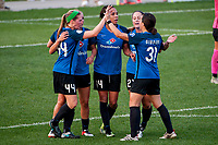 Kansas City, MO - Sunday September 3, 2017: Maegan Kelly, Sydney Leroux Dwyer, Caroline Flynn, Christina Gibbons, celebrate, celebration during a regular season National Women's Soccer League (NWSL) match between FC Kansas City and Sky Blue FC at Children's Mercy Victory Field.