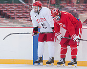 John MacLeod (BU - 16), Brandon Hickey (BU - 4) - The Boston University Terriers practiced on the rink at Fenway Park on Friday, January 6, 2017.The Boston University Terriers practiced on the rink at Fenway Park on Friday, January 6, 2017.