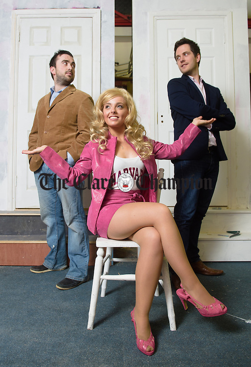 Kim Burke as Elle with Mikie O Gorman as Emmet and Richie Hayes as Warner at rehearsals for the Shannon Musical Society's production of Legally Blonde, The Irish Premiere, which runs from 14th to 20th February in St. Patrick's Comprehensive School. Photograph by John Kelly.