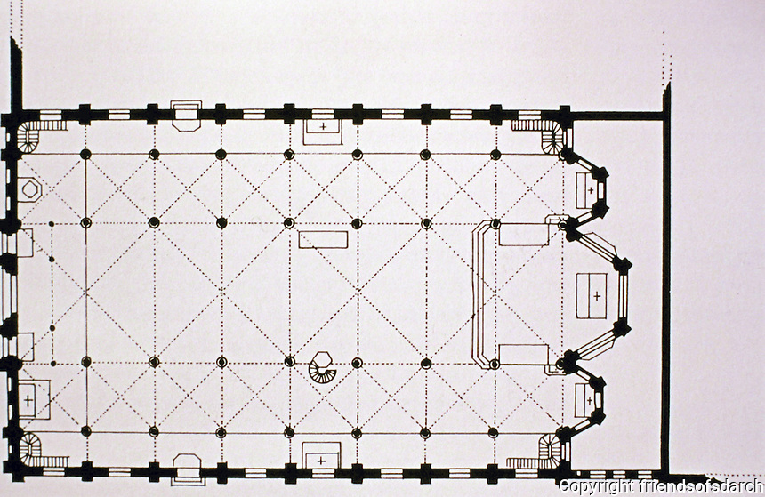 Plan of St. Eugene Church, Paris, 1854-56 by Louis Auguste Boileau. Gothic Revival.