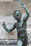 Satyr statue of a horned Pan in House of Faun in the ancient city of Pompeii, Italy