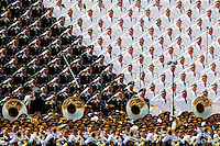 Military band sing and salute at the Tiananmen Square at the beginning of the military parade marking the 70th anniversary of the end of World War Two, in Beijing, China, September 3, 2015. REUTERS/Damir Sagolj
