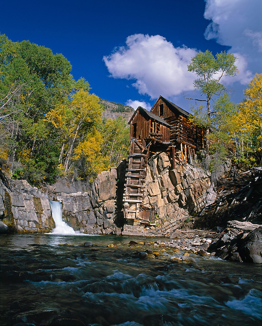 Fall color around the historic powerhouse named Crystal Mill on the South Fork of the Crystal River, CO