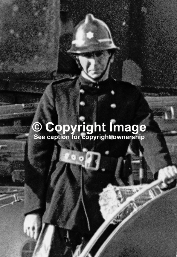 Fireman Lexie Wylie who died in blaze which completely destoyed the Melville Hotel, Foyle Street, Londonderry, N Ireland. 197111000467LW<br />