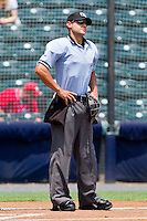 Home plate umpire Joey Amaral prior to the Eastern League game between the Harrisburg Senators and the Richmond Flying Squirrels at The Diamond on July 22, 2011 in Richmond, Virginia.  The Squirrels defeated the Senators 5-1.   (Brian Westerholt / Four Seam Images)