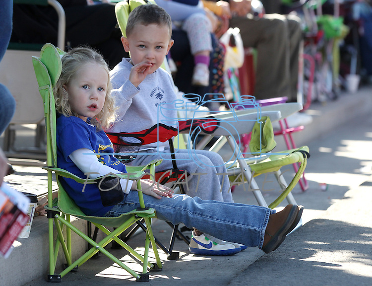 Jillian Foster and Breck Schellin, both 3, watch the annual Nevada Day Parade in Carson City, Nev., on Saturday, Oct. 28, 2011..Photo by Cathleen Allison