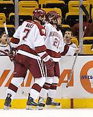 Ryan Maki (Harvard - 7), Alex Meintel (Harvard - 21) - The Northeastern University Huskies defeated the Harvard University Crimson 3-1 in the Beanpot consolation game on Monday, February 12, 2007, at TD Banknorth Garden in Boston, Massachusetts.