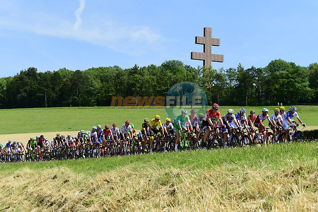 The peloton pass Colombey-les-Deux-Eglises during Stage 6 of the 104th edition of the Tour de France 2017, running 216km from Vesoul to Troyes, France. 6th July 2017.<br /> Picture: ASO/Alex Broadway | Cyclefile<br /> <br /> <br /> All photos usage must carry mandatory copyright credit (&copy; Cyclefile | ASO/Alex Broadway)