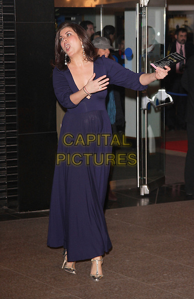 "AMANDA LAMB.""I Am Legend"" UK film premiere, Odeon Leicester Square, London, England..December 19th, 2007.full length blue purple dress plunging low cut neckline  cleavage funny arms gesture posing mouth open .CAP/ROS.©Steve Ross/Capital Pictures"