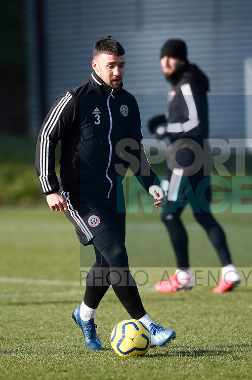Enda Stevens of Sheffield Utd  during the Press Conference & Training at the Steelphalt Academy, Sheffield. Picture date: 7th February 2020. Picture credit should read: Simon Bellis/Sportimage