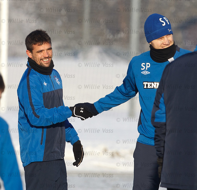Sasa Papac welcones Nacho Novo back to Rangers as the little Spaniard is across visiting his inlaws for Christmas