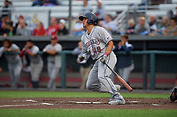 Mahoning Valley Scrappers Yainer Diaz (48) bats during a NY-Penn League game against the Auburn Doubledays on August 27, 2019 at Falcon Park in Auburn, New York.  Auburn defeated Mahoning Valley 3-2 in ten innings.  (Mike Janes/Four Seam Images)