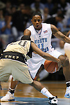08 November 2008: North Carolina's Larry Drew II (11) defends Pembroke's Scott McNeil (20). The University of North Carolina Tarheels defeated the University of North Carolina at Pembroke Braves 102-62 at the Dean E. Smith Center in Chapel Hill, NC in an NCAA exhibition basketball game.