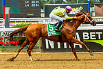 JULY 11, 2020 : Monomy Girl with Florent Geroux aboard, wins the Grade 2 Ruffian  Stakes, going 1 mile, at Belmont Park, Elmont, NY.  Sue Kawczynski/Eclipse Sportswire/CSM