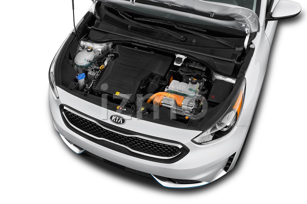 Car stock 2018 KIA Niro LX PHEV 5 Door Hatchback engine high angle detail view