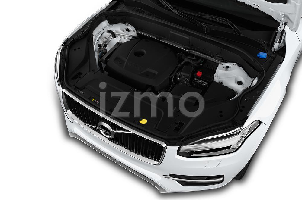 Car Stock 2017 Volvo XC90 Momentum 5 Door SUV Engine  high angle detail view