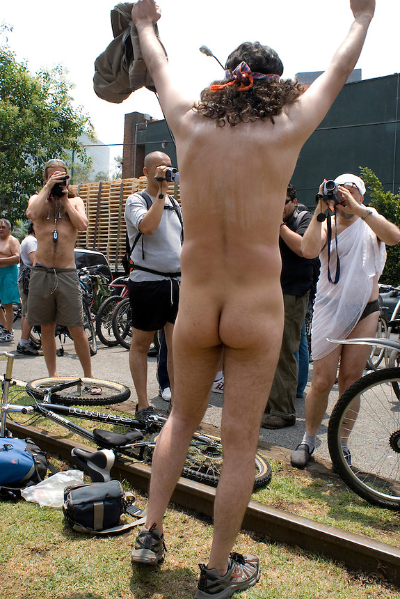 Jorge Neyra, 36 years old, poses for the press. Mexico City, on Saturday, June 9, 2007. An estimated 100 people participated in this protest designed to force cardrivers to be more concietious of vulnerable bike riders.