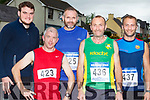Andrew Purcell, Jerimiah Tangney, Maurice O'Connor, Larru Hickey and Joe Reynolds at the Gneeveguilla AC I mile road race series in Barradubh on Friday evening
