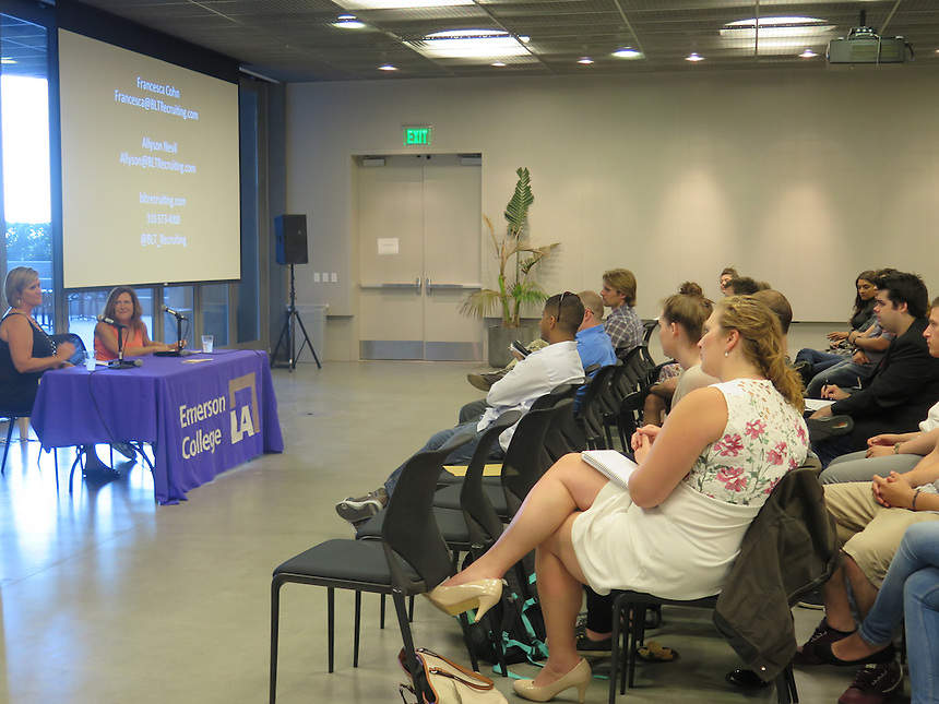 Students and alumni listen to Allyson Nevil and Francesa Cohn at a recruitment event at Emerson Los Angeles on June 25.