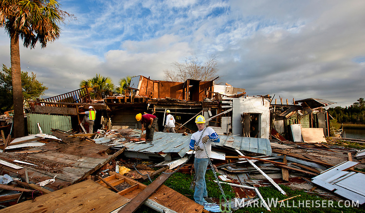 The demolition of St Marks historic icon Posey's Oyster Bar in St Marks, Florida December 30, 2011.