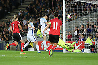 Lucy Bronze (Manchester City) of England Women (3rd left) scores her team's second goal of the game during the Women's Friendly match between England Women and Austria Women at stadium:mk, Milton Keynes, England on 10 April 2017. Photo by PRiME Media Images / David Horn.