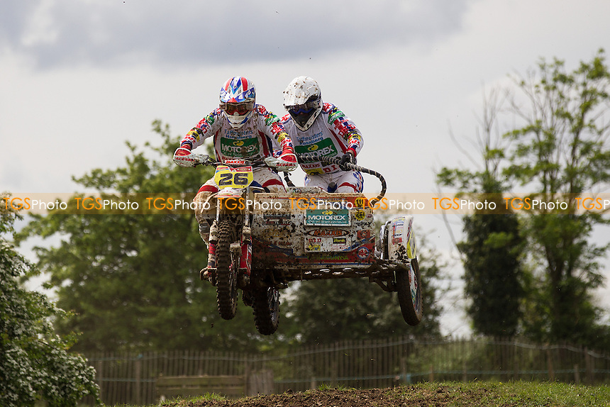 Rob Foden and Dug Woods in action during ACU British Sidecar Cross Championship Round Three at Wattisfield Hall MX Track on 22nd May 2016
