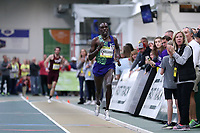 WINSTON-SALEM, NC - FEBRUARY 08: Paul Chelimo #11 wins the Men's Camel City Elite 3000 Meters with a 7:50.37 time at JDL Fast Track on February 08, 2020 in Winston-Salem, North Carolina.
