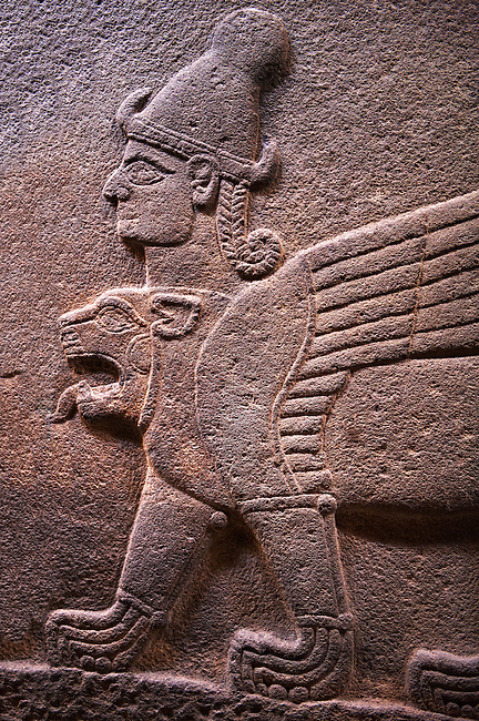 Neo-Hittite orthostat describing the legend of Gilgamesh from Karkamis,, Turkey.  A three headed Sphinx which is a winged lion with a human heas and a bird of prey's head on the end of its tail. An Ankara Museum of Anatolian Civilizations exhibit.