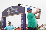 Boris Becker tees off the 1st hole during the World Celebrity Pro-Am 2016 Mission Hills China Golf Tournament on 23 October 2016, in Haikou, China. Photo by Weixiang Lim / Power Sport Images