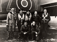 BNPS.co.uk (01202 558833)<br /> Pic: IAA/BNPS<br /> <br /> Sumpter(l) with other crew about to set off on 617's last operation of the war in April 1945 - to bomb Hitlers infamous Bavarian retreat in Berghtesgaden.<br /> <br /> A fascinating and historic logbook and photographs from a Dambuster's hero who also went on many other famous raids during WW2 has come light. <br /> <br /> The remarkable collection belonged to Flight Sergeant Leonard Sumpter who was a bomb aimer on the iconic Dam's mission and put together a unique scrapbook of his thrilling wartime career in Bomber Command's most famous squadron.<br /> <br /> As well as the bouncing bomb sortie, the ace bomb aimer also dropped Barnes Wallis's later invention of massive Tallboy and Grand Slam 'bunker busting' bombs, the largest non nuclear warheads of the war.<br /> <br /> Only the elite 617 squadron were entrusted with delivering these hugely valuable weapons onto their vital targets, that included U-boat pens, V2 rocket sites and even Hitler's Bavarian hideaway the Eagles Nest.<br /> <br /> Also included are pictures Mr Sumpter took in 1947 during a summer excusion to visit some of the sites he had attacked during the conflict.<br /> <br /> Flt Sgt Sumpter's daughter has decided to put the photo album up for auction together with his logbook and his personal scrapbook.