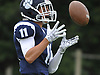 Max Napoli #11 of Northport fields a kickoff during a Suffolk County Division I varsity football game against Lindenhurst at Glenn High School on Saturday, Sept. 2, 2017.