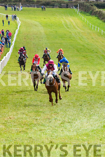 Pacman, ridden by jockey Shane Cross, winning the Sraid Eoin Race at the Dingle Races on Saturday.