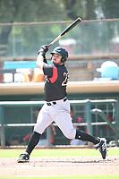 Connor Panas (27) of the Lake Elsinore Storm bats against the Inland Empire 66ers at San Manuel Stadium on June 5, 2019 in San Bernardino, California. (Larry Goren/Four Seam Images)