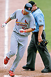 5 August 2007: St. Louis Cardinals starting pitcher Adam Wainwright crosses the plate against the Washington Nationals at RFK Stadium in Washington, DC. The Nationals defeated the Cardinals 6-3 to sweep their 3-game series...Mandatory Photo Credit: Ed Wolfstein Photo