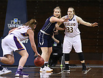 SIOUX FALLS, SD: MARCH 19:  Vanessa Stavish #15 of MSU Billings defends Sarah Hart #33 of Ashland during their game at the 2018 Division II Women's Elite 8 Basketball Championship at the Sanford Pentagon in Sioux Falls, S.D. (Photo by Dick Carlson/Inertia)