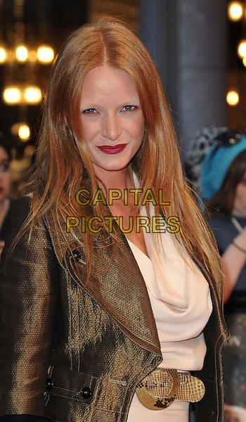 "OLIVIA INGE .""Water For Elephants"" UK film premiere.Vue Westfield, Upper Level, Westfield Shopping Centre, White City, London, England, UK, May 3rd 2011..half length green jacket red lipstick make-up  belt cream beige .CAP/WIZ.© Wizard/Capital Pictures."