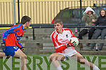 Seamus O Muircheartaigh (Pobalscoil Chorca,Dhuibhne) in action with Brendan Cronin (KIC) in the Colleges under 161/2 Bruan Cup at Austin Stack GAA Grounds, Connolly Park, Tralee on Wednesday.